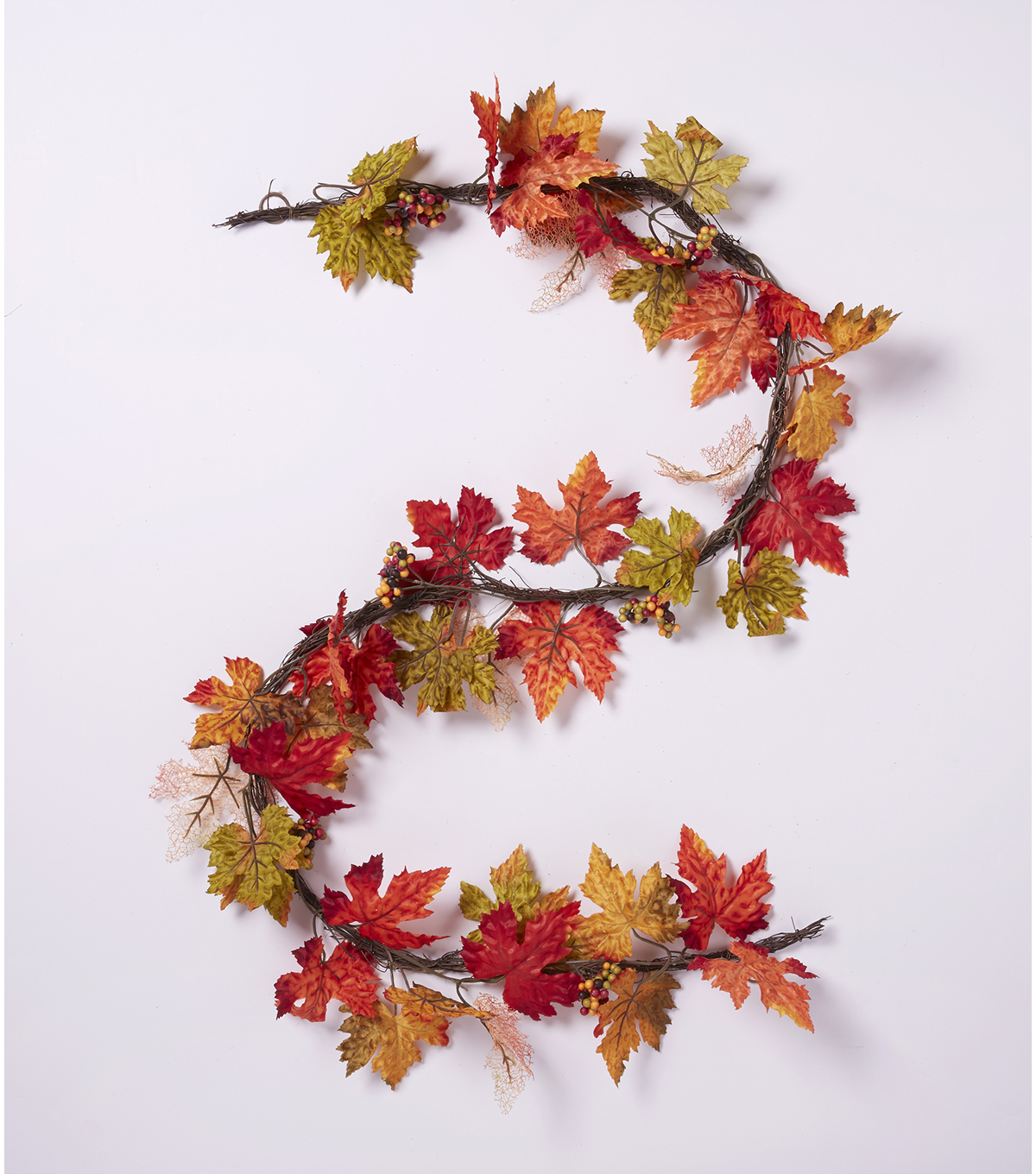 Blooming Autumn 66\u0027\u0027 Skeleton Maple Leaves & Berry Garland-Orange