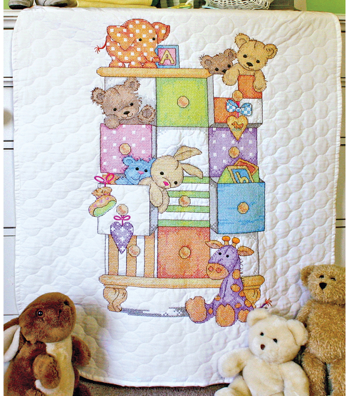 Dimensions Baby Hugs Baby Drawers Quilt Stamped Cross Stitch Kit ... : kits for baby quilts - Adamdwight.com