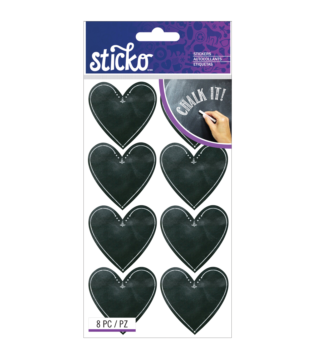 Sticko Chalk Stickers-Hearts