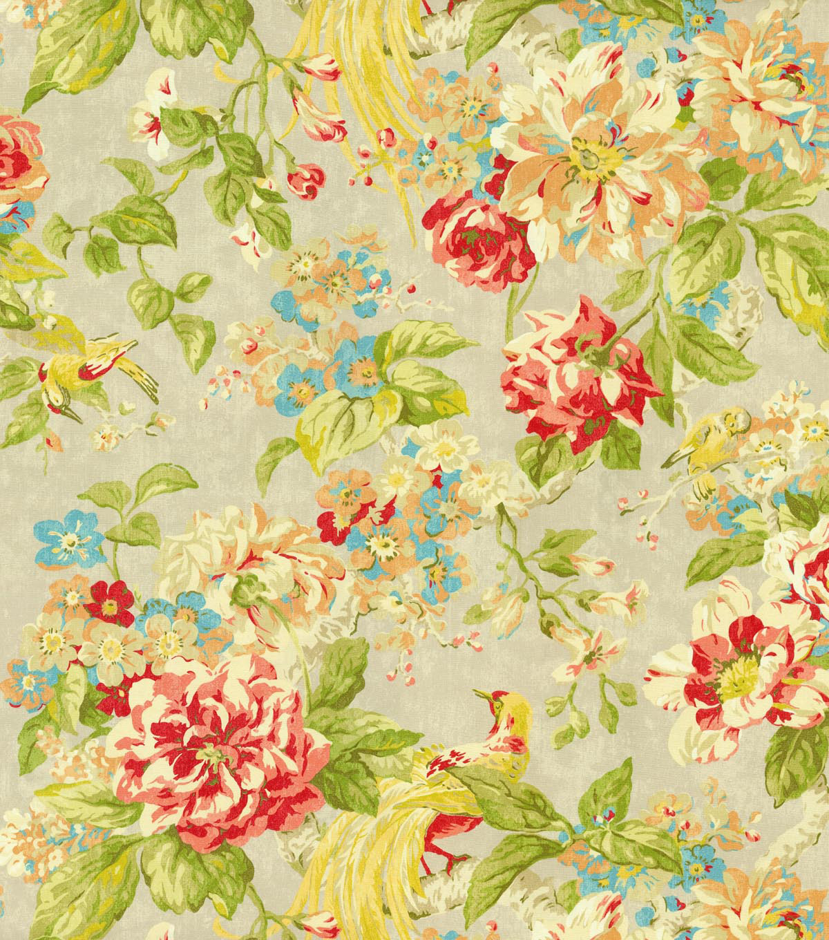 "Home Decor 8""x8"" Swatch Fabric-Waverly Floral Engagement Poppy"
