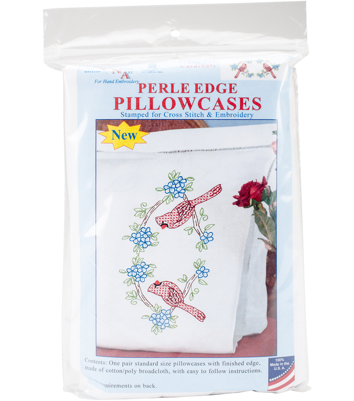 Stamped Pillowcases W/White Perle Edge 2 Pack-Cardinal