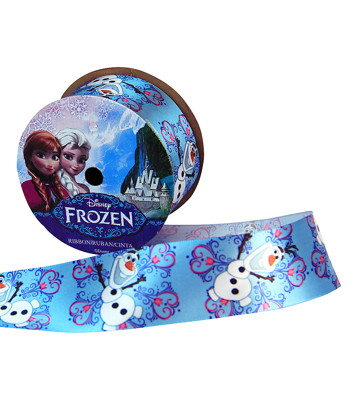 Offray 1.5\u0022x9\u0027 Frozen Olaf Snowflake Character Single Faced Satin Ribbon-Blue