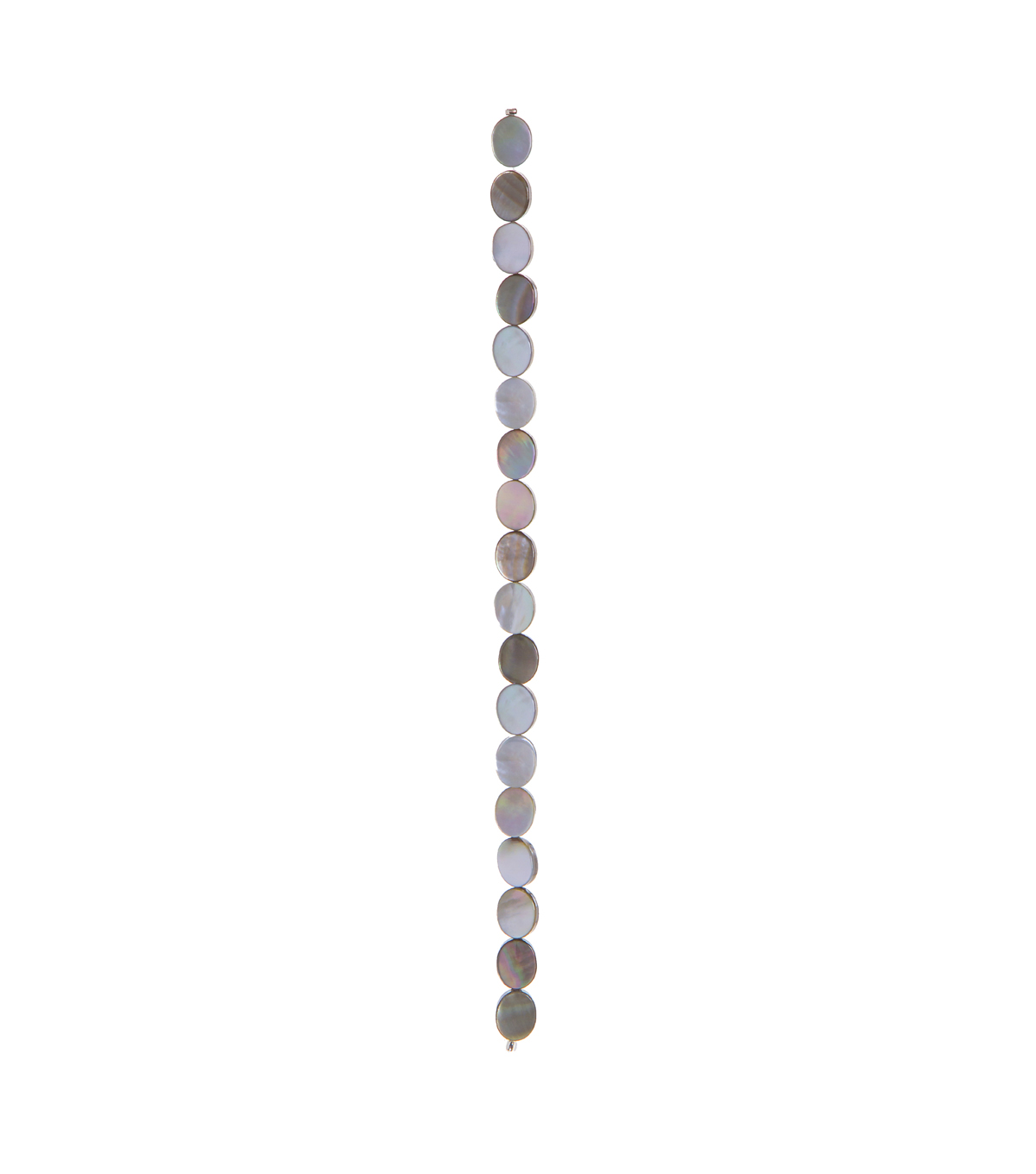 Mother of Pearl-Style Grey Beads, Oval, 7-inch Strand