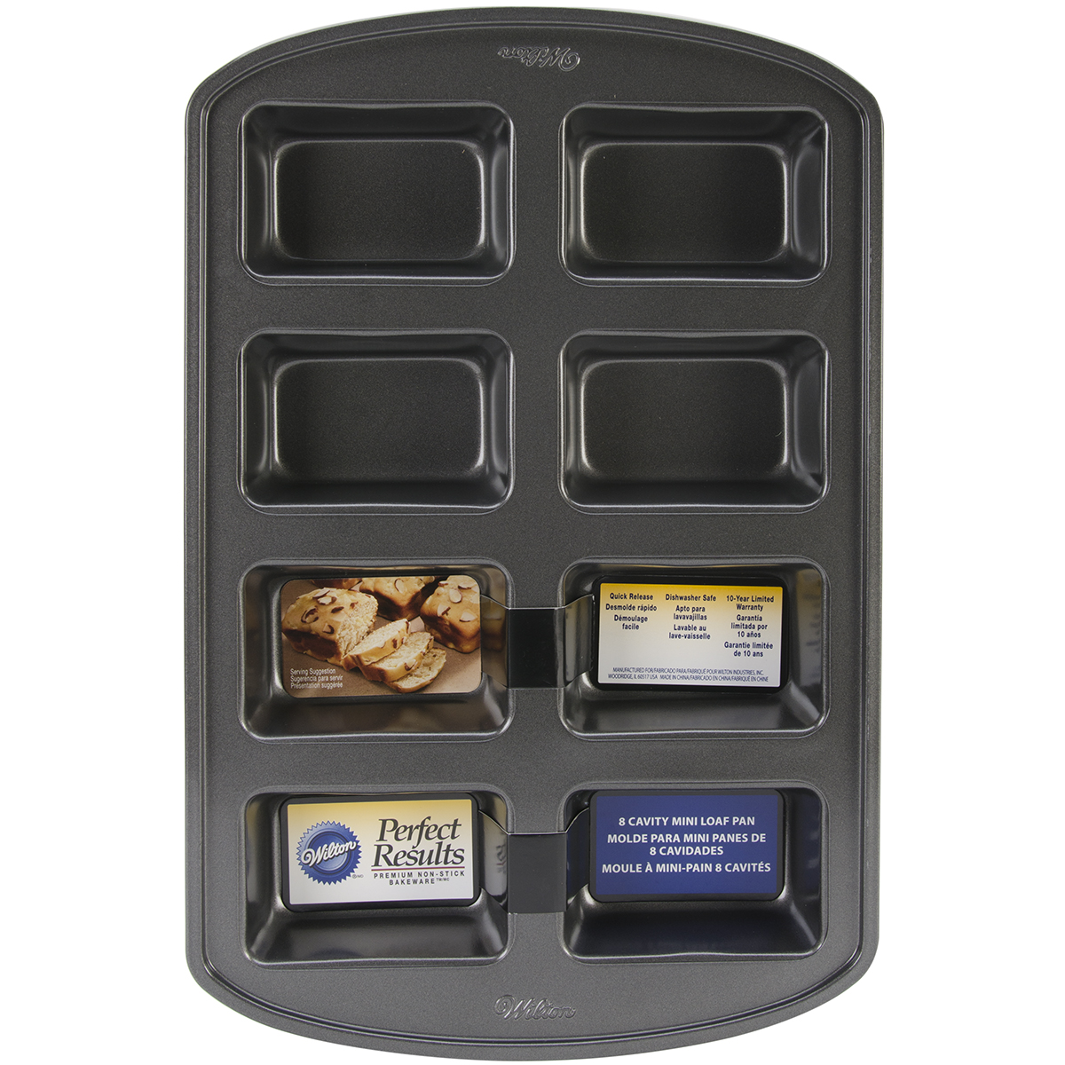 Wilton® Perfect Results Mini Loaf Pan-8 Cavity 3.8\u0022X2.5\u0022