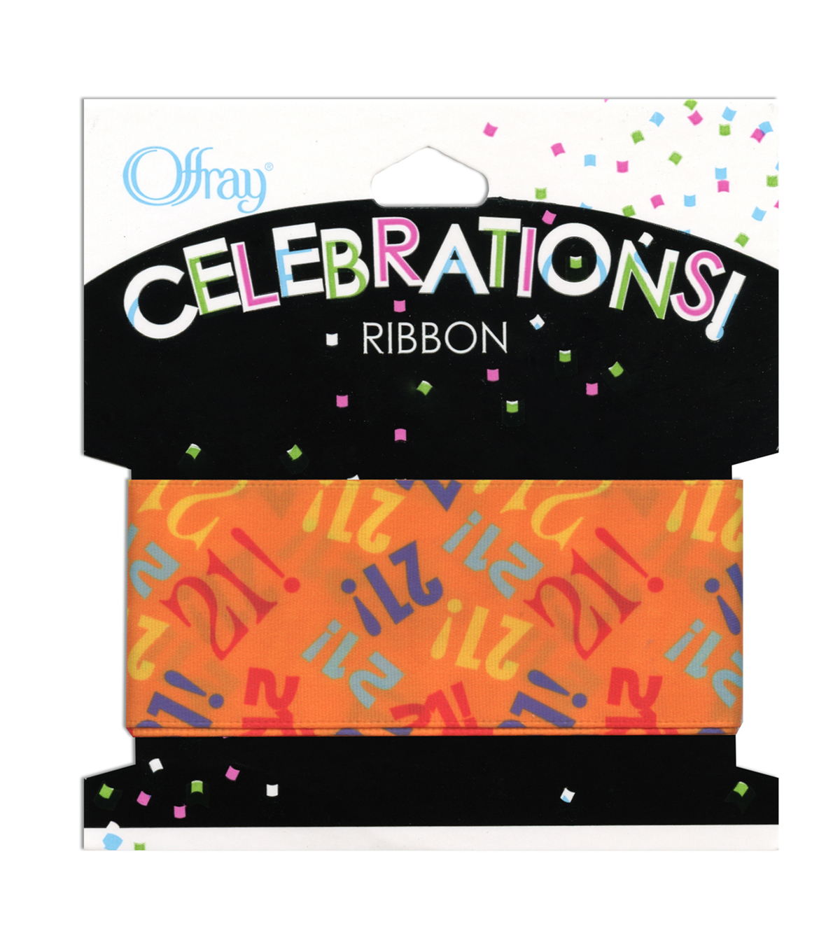 "Offray Celebrations Ribbon 1.5"" x 9'- Birthday"