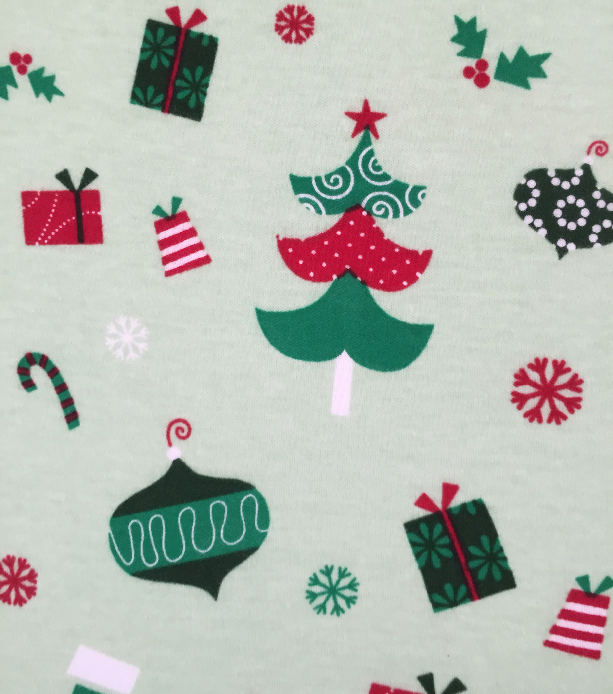 Doodles Christmas Interlock Cotton Fabric 57\u0022-Holiday Bulbs & Presents