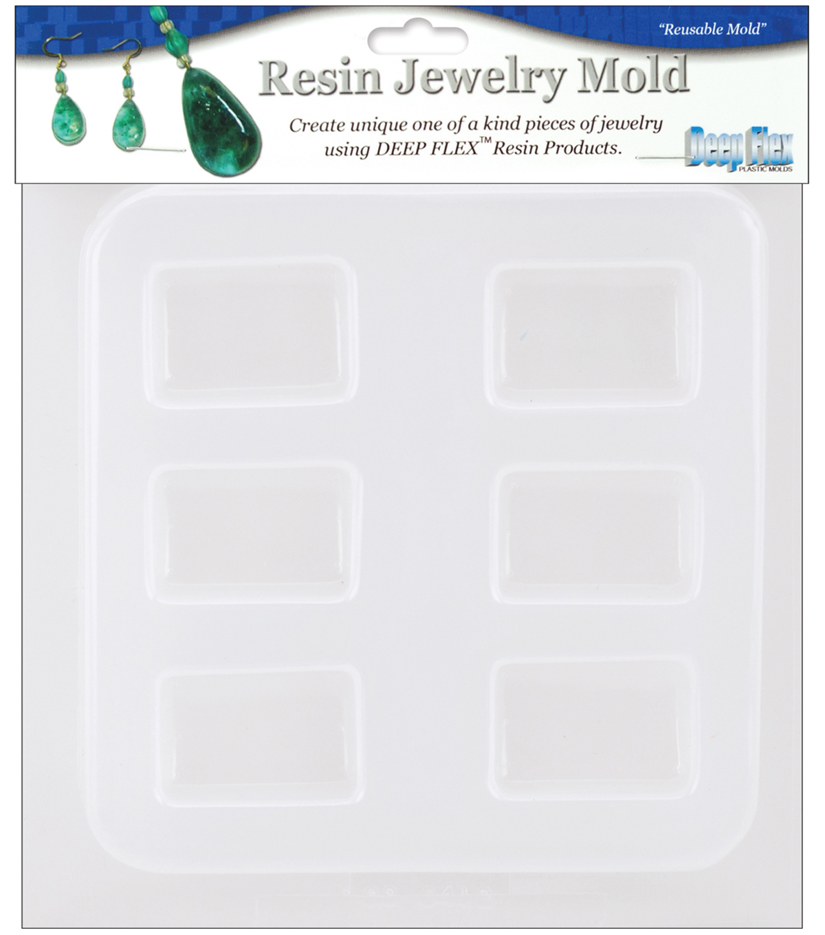Yaley Resin Jewelry Reusable Plastic Mold 6-1/2\u0022x7\u0022-Rectangles 6 Shapes