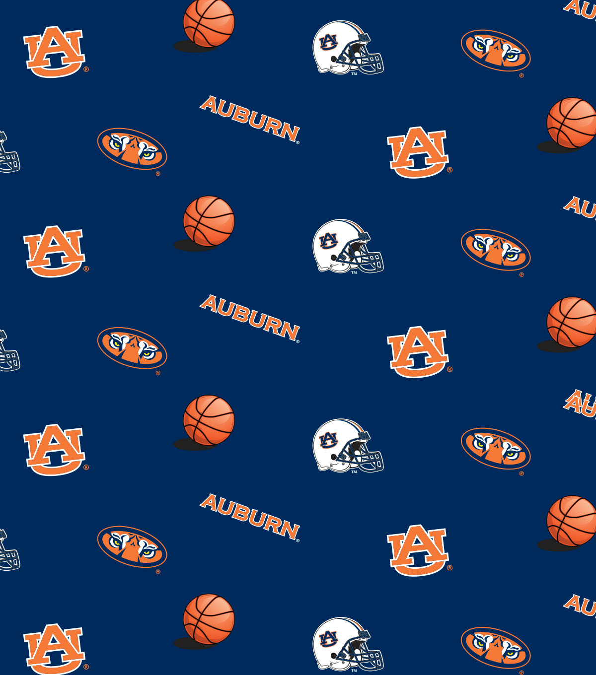 Auburn University Tigers Cotton Fabric 44\u0022-Blue All Over