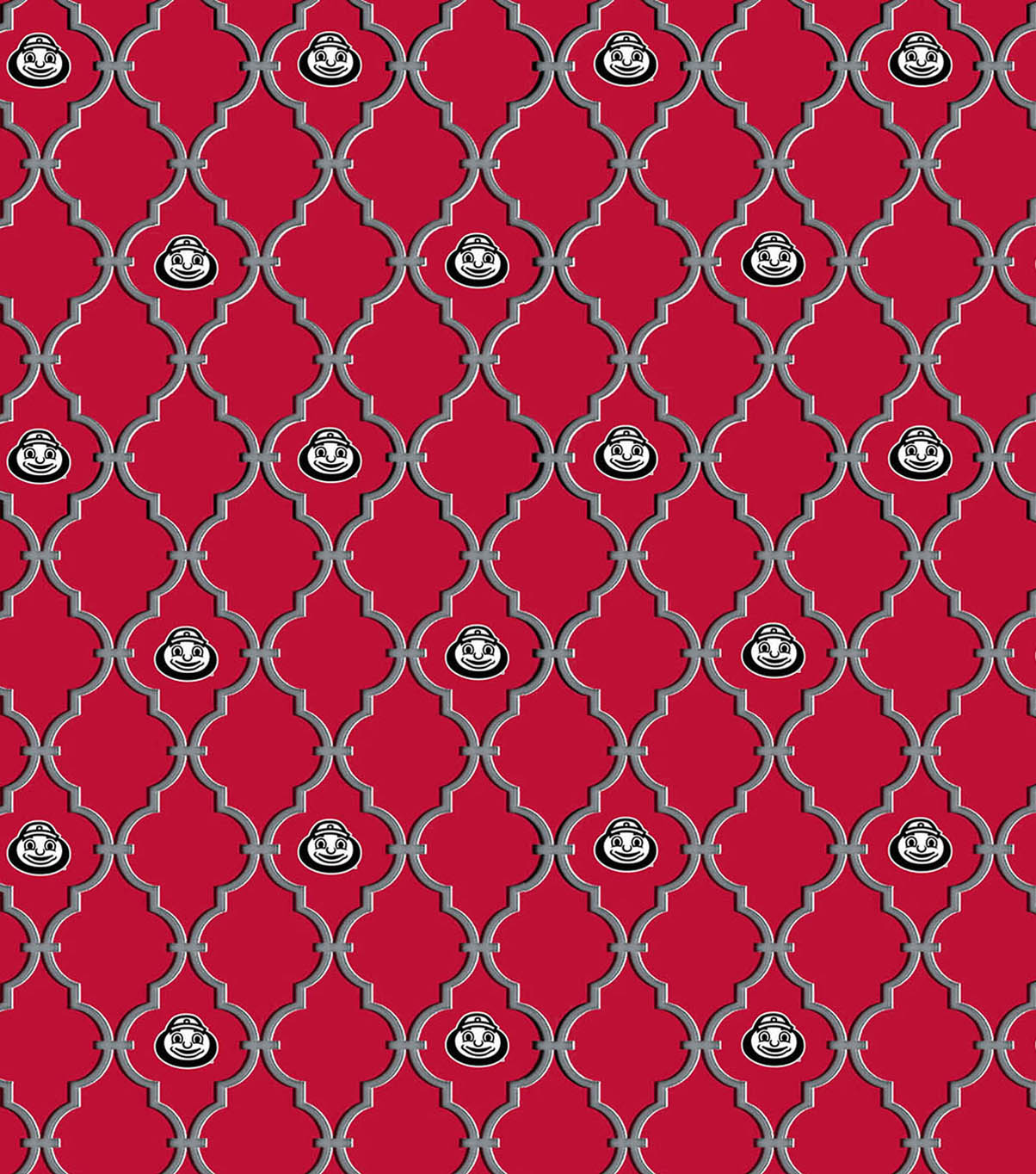 Ohio State University Buckeyes Cotton Fabric 44\u0022-Trellis Logo