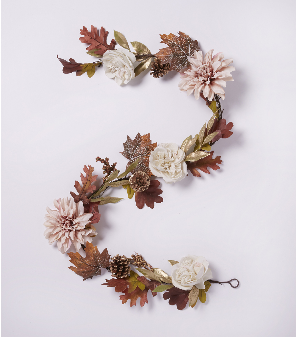 Blooming Autumn 66'' Dahlia, Rose & Leaf Garland-Gold
