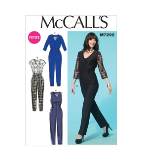 Mccall Pattern M7292-A50-Misses'/Miss Petite Jumpsuits And Belt-6-8-10-12-14