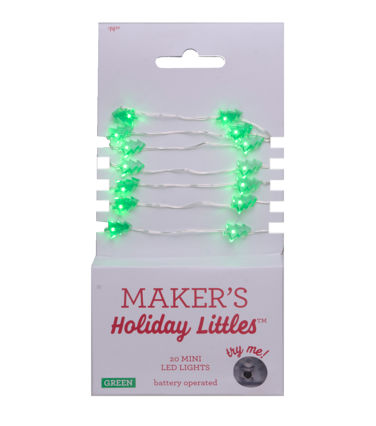 Maker\u0027s Holiday Littles 20 ct Christmas Tree LED Lights-Green & Silver