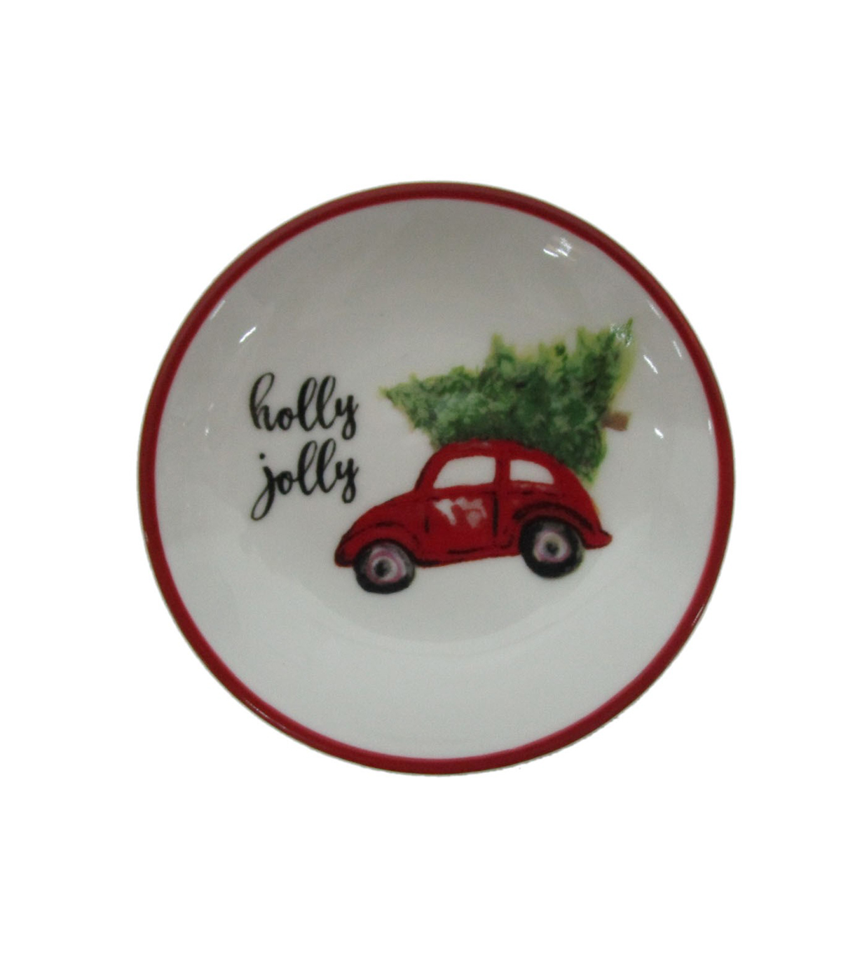 Maker\u0027s Holiday Christmas Stoneware Round Plate-Red Car & Holly Jolly