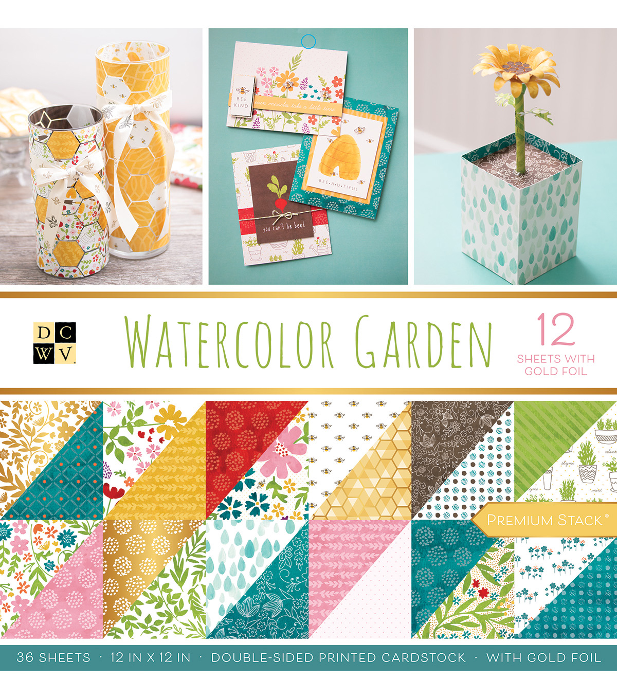 DCWV 36 Pack 12''x12'' Premium Stack Printed Cardstock-Watercolor Garden