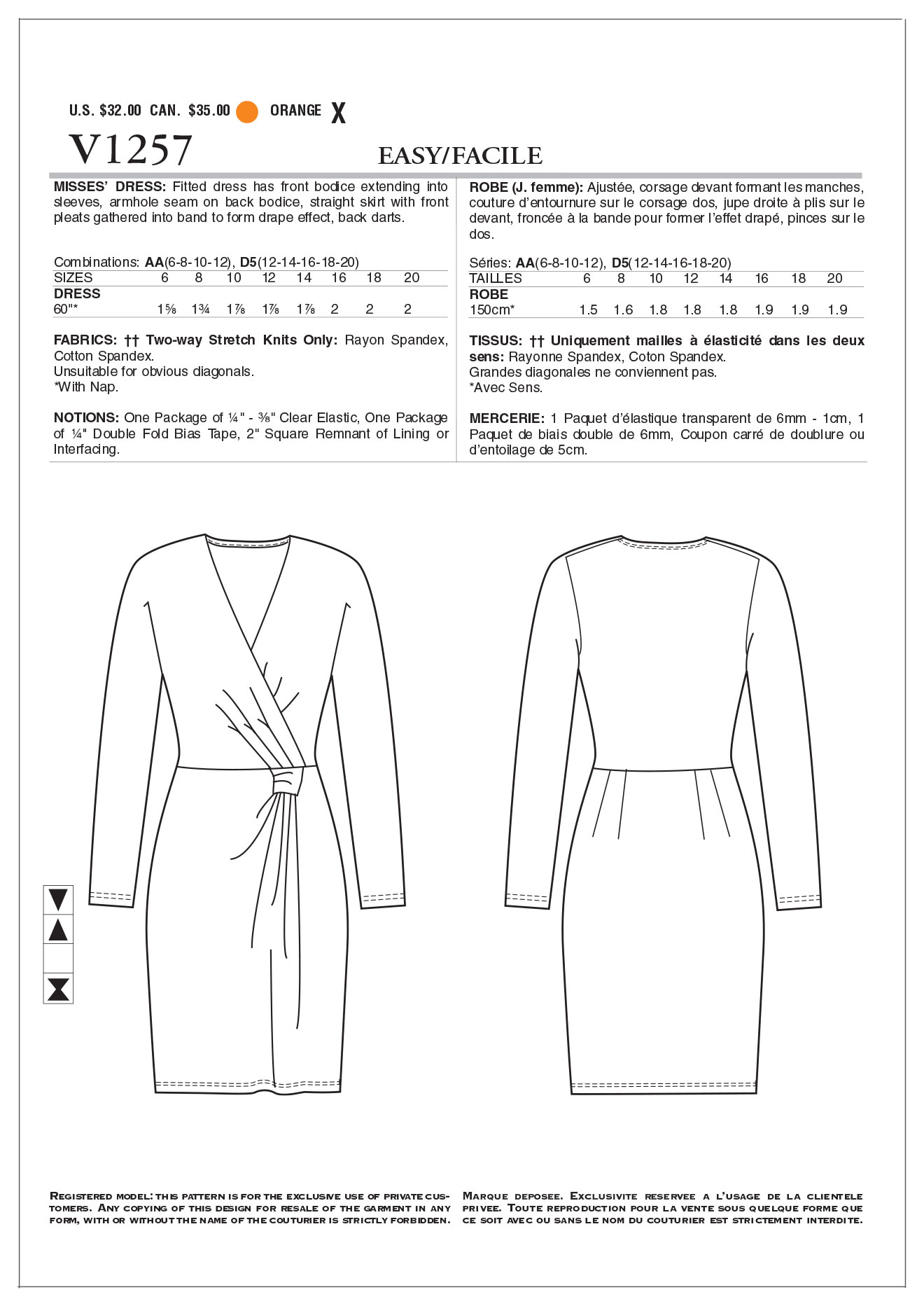Mccall Pattern V1257 Aa (6-8-10-Vogue Pattern