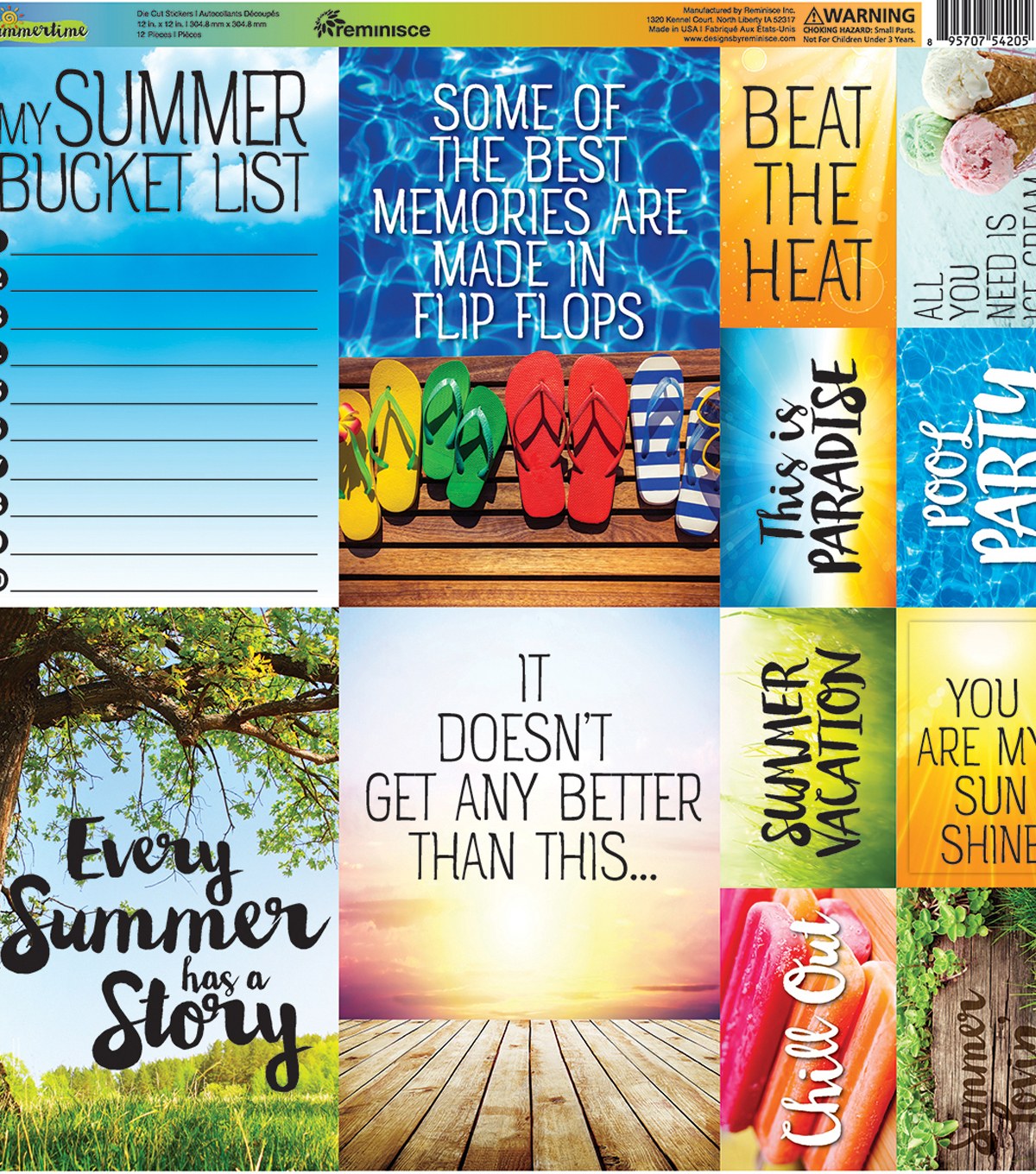 "Summertime Poster Stickers 12""X12"""