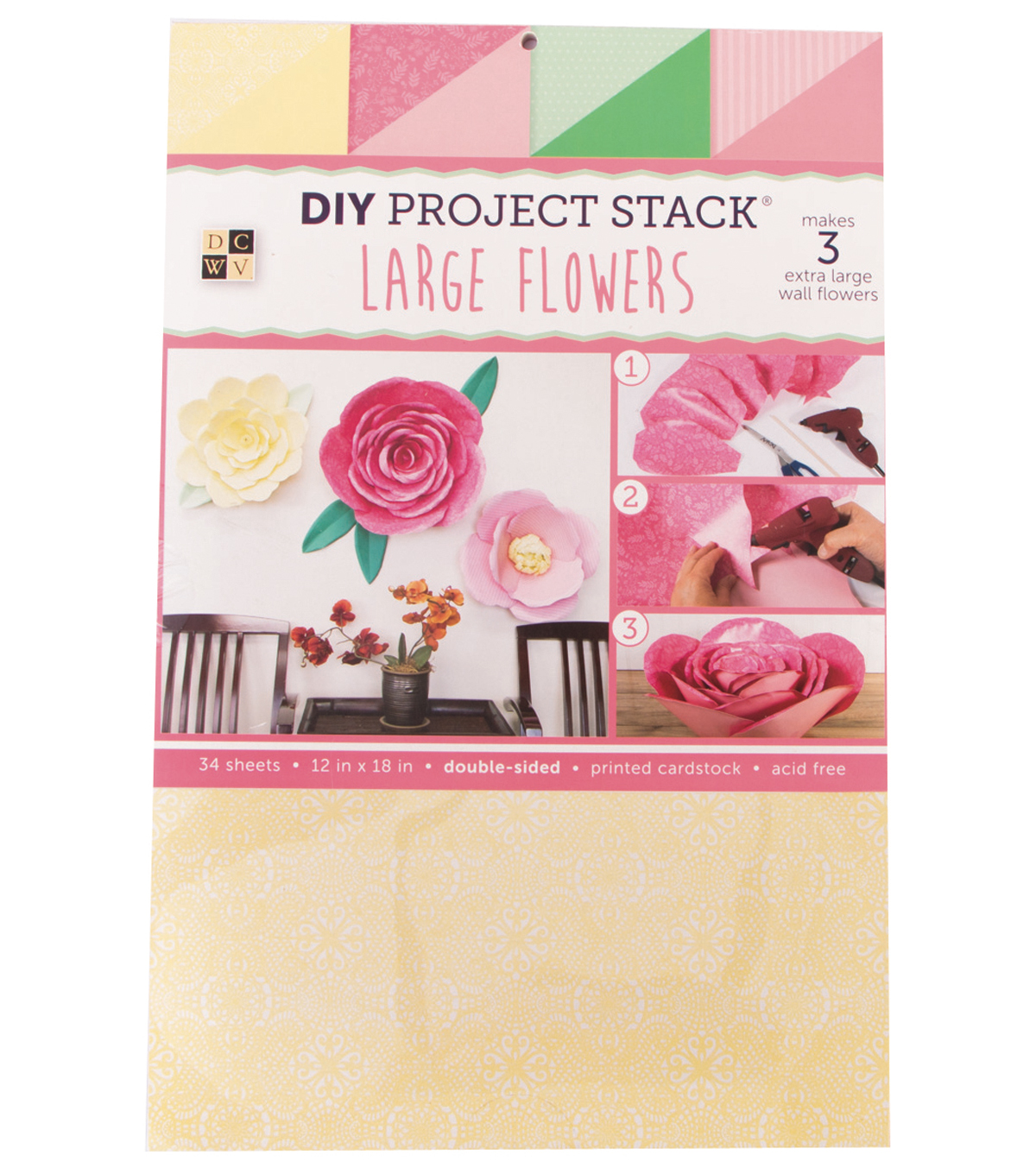 "DCWV 12""x18"" DIY Project Stack: Large Flowers"