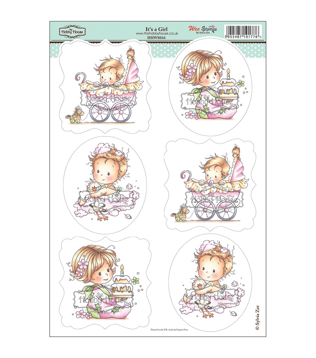 "Wee Stamps Topper Sheet 8.3""X12.2""  -It's A Girl"