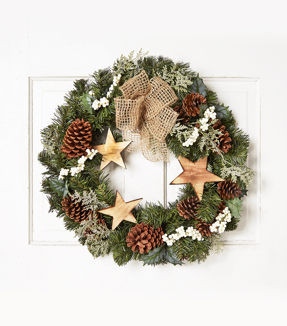 Blooming Holiday 24\u0027\u0027 Wooden Star & Pinecone Wreath