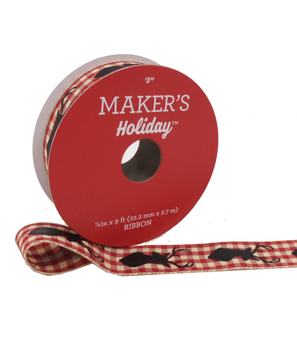 Maker\u0027s Holiday Christmas Gingham Ribbon 7/8\u0027\u0027X9\u0027-Black Reindeer