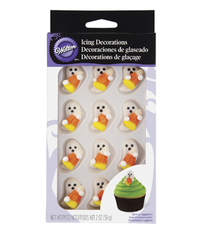 Wilton 12ct Ghost with Candy Corn Icing Decorations