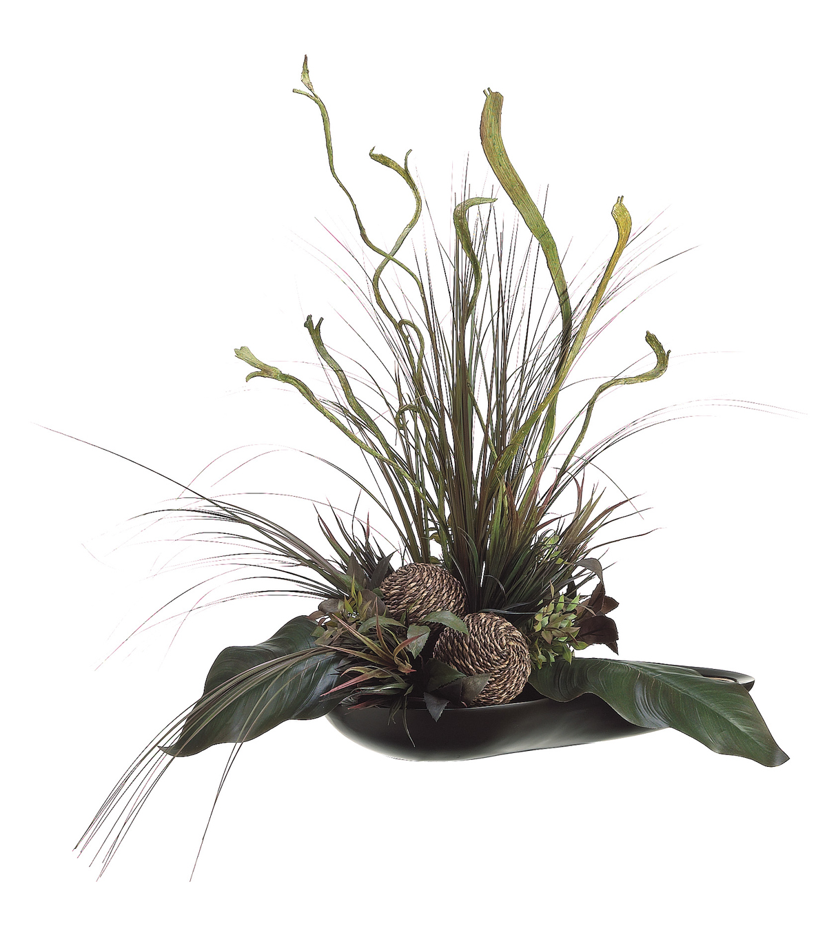 Bloom Room Luxe 29'' Canna Staghorn Grass In Bowl-Burgundy