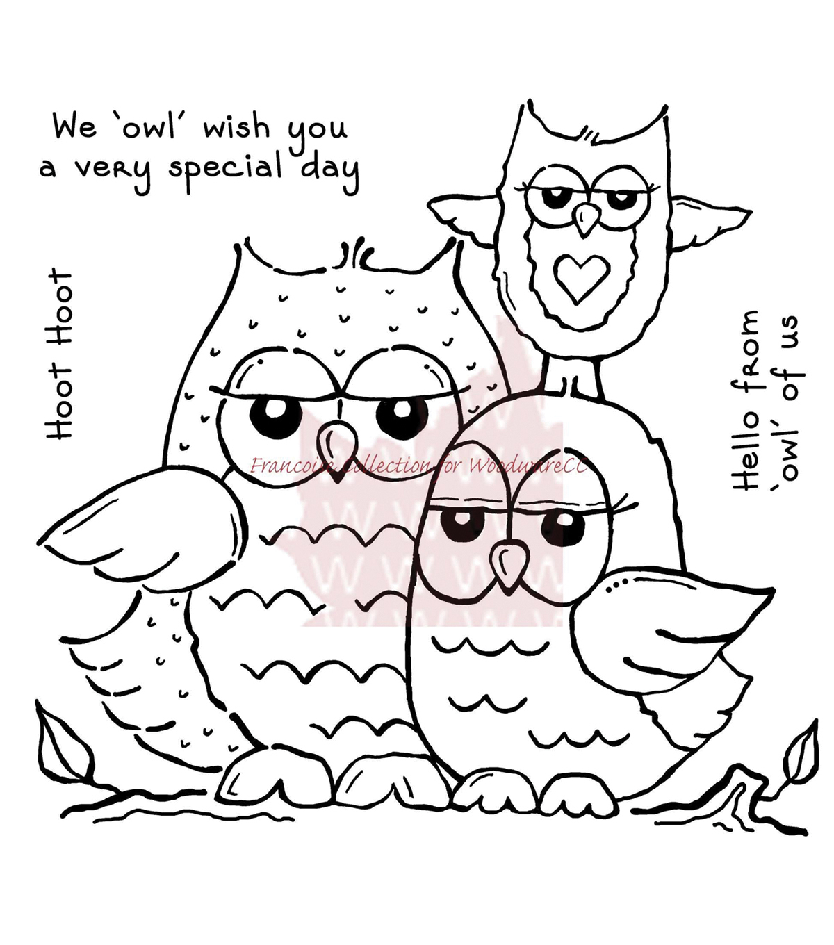 Woodware Clear stamps Owl Family