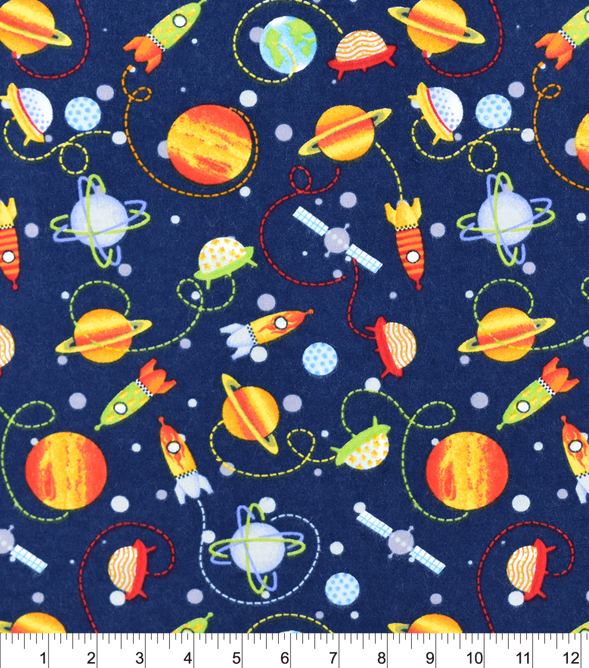 Snuggle Flannel Fabric 42\u0022-Space Ships And Planets
