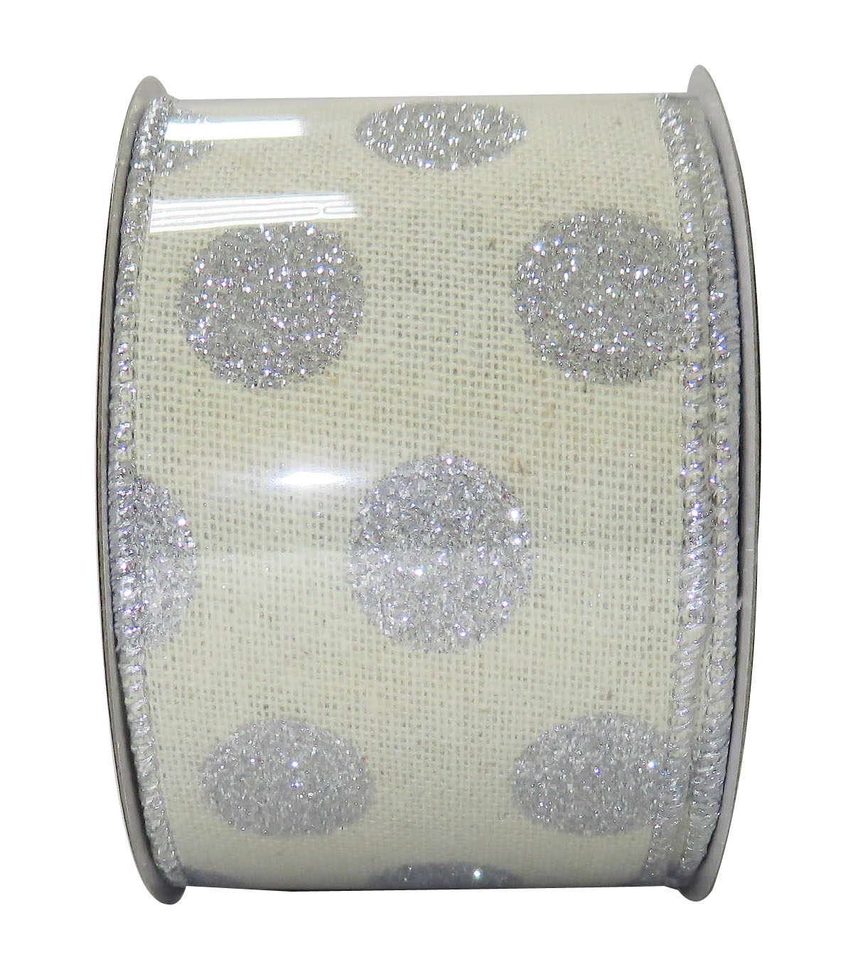 Decorative Ribbon 2.5\u0027\u0027 X 15\u0027-Silver Glitter Dot
