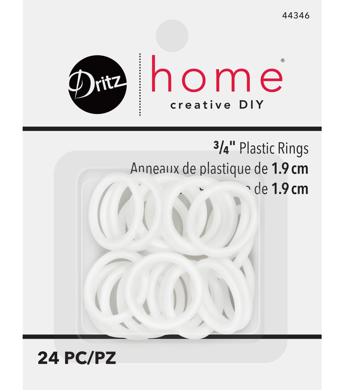 "Dritz Plastic Rings 3/4"" 24Ct"