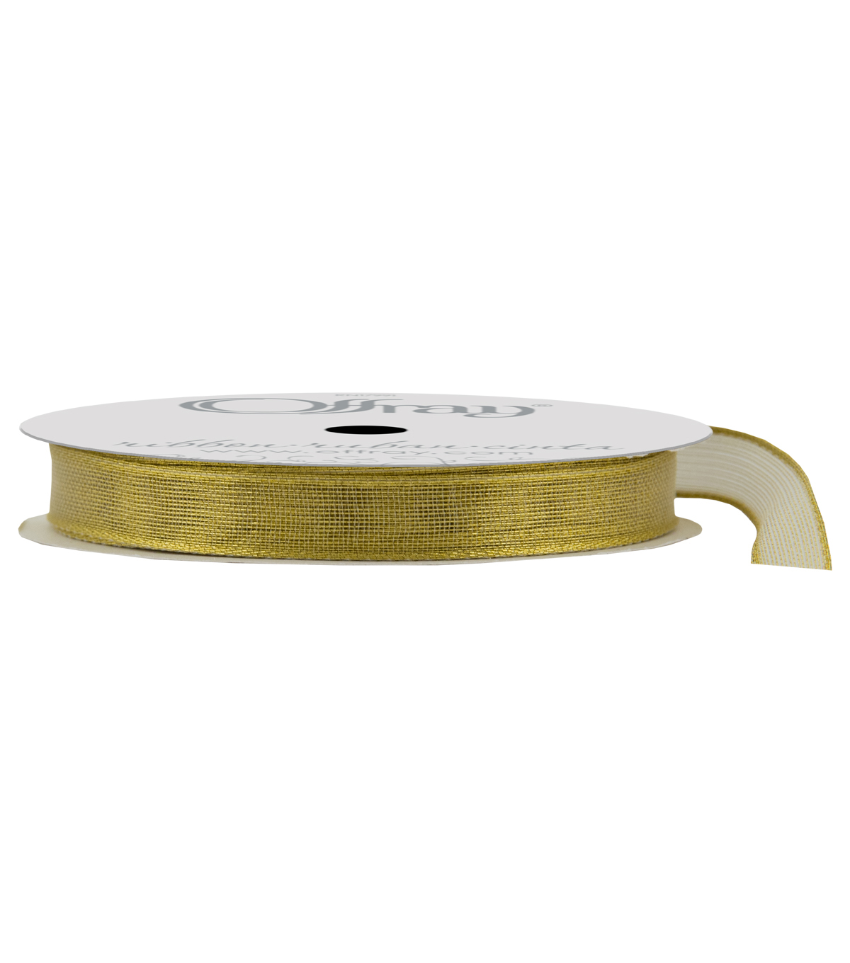 Offray 3/8\u0022x9\u0027 Firefly Metallic Woven Wired Edge Ribbon-Gold