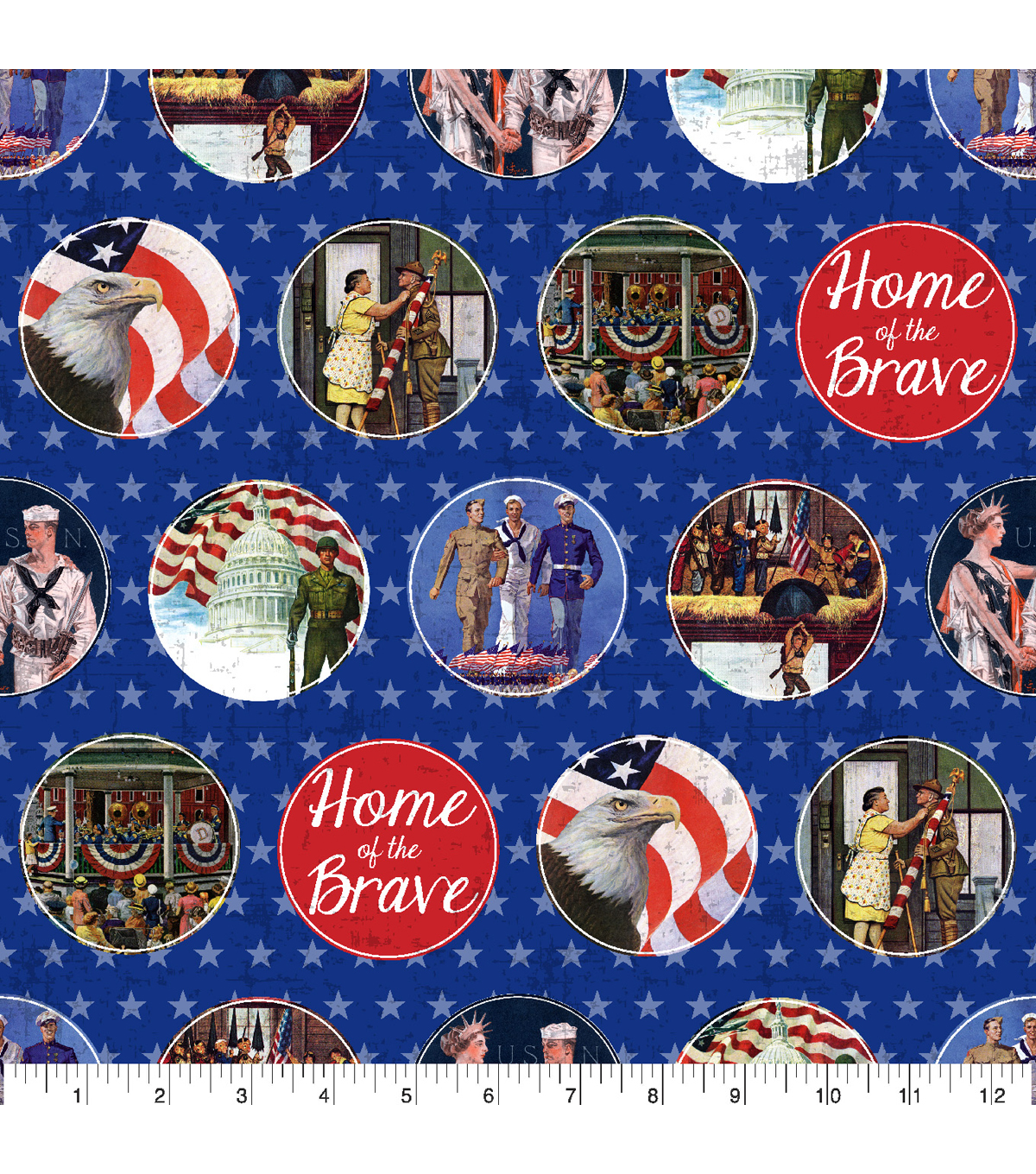 Patriotic Cotton Fabric 43\u0022-Home of the Brave