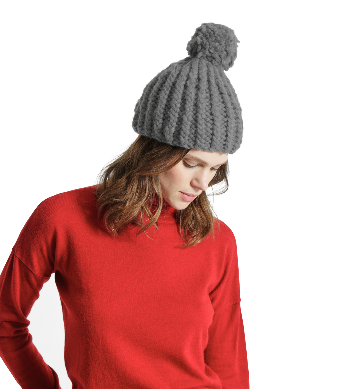 Wool And The Gang Happy Daze Beanie Knit Kit-Tweed Gray