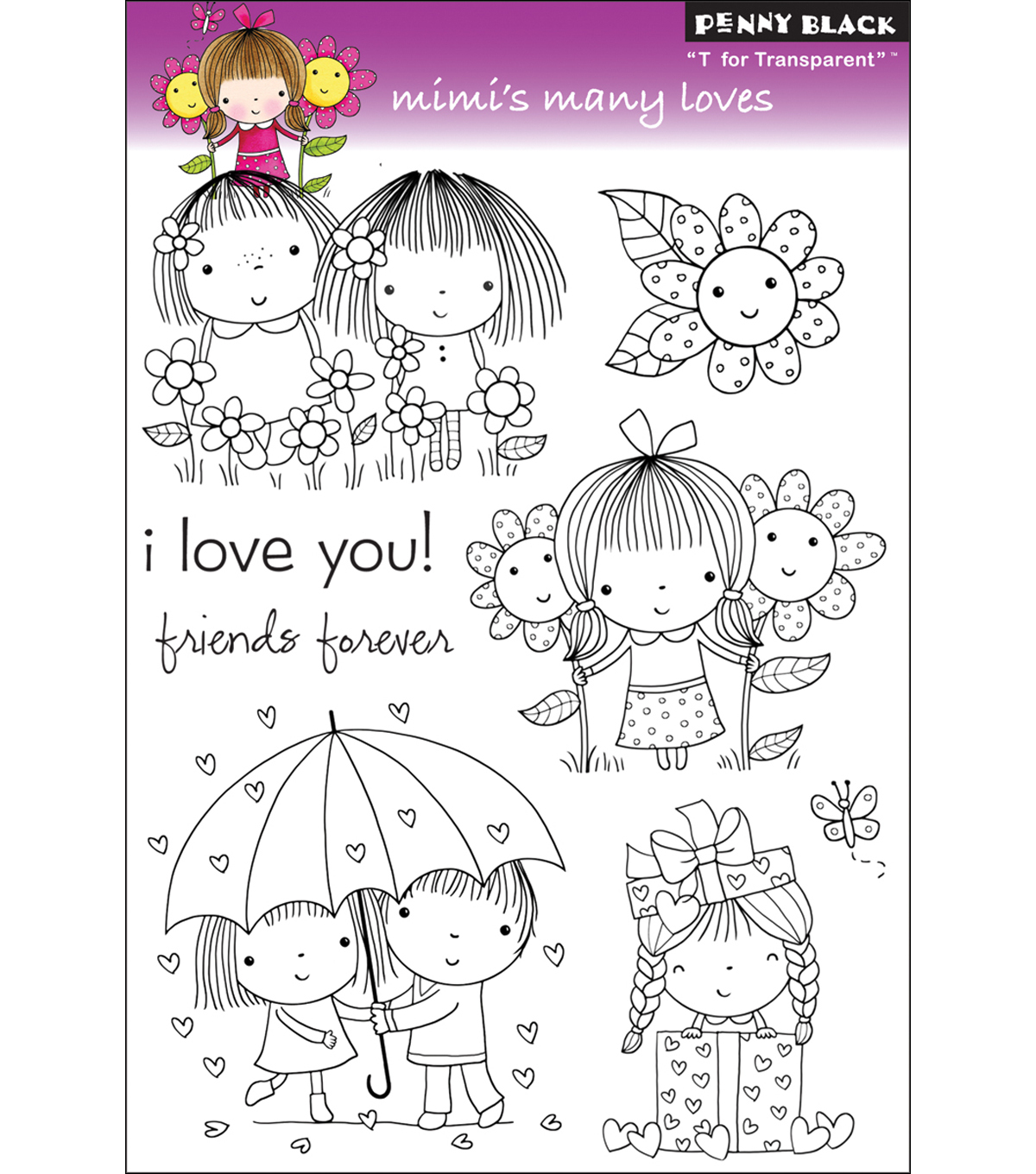 Clear Stamps 5\u0022X7.5\u0022 Sheet-Mimi\u0027s Many Loves
