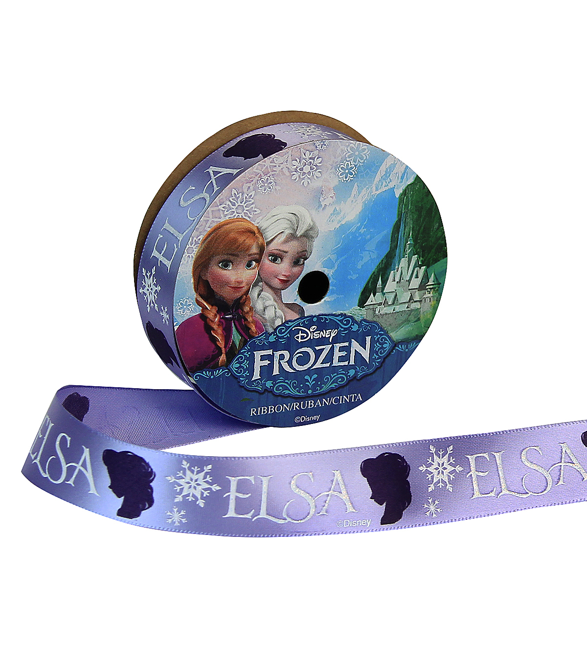 "Offray 7/8""x9' Frozen Elsa Silo Character Single Faced Satin Ribbon-Purple"