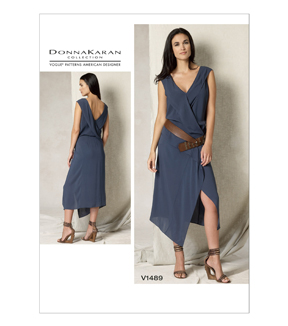 Vogue Pattern V1489-DD0 Misses\u0027 Draped V-Neck Dress-12-14-16-18