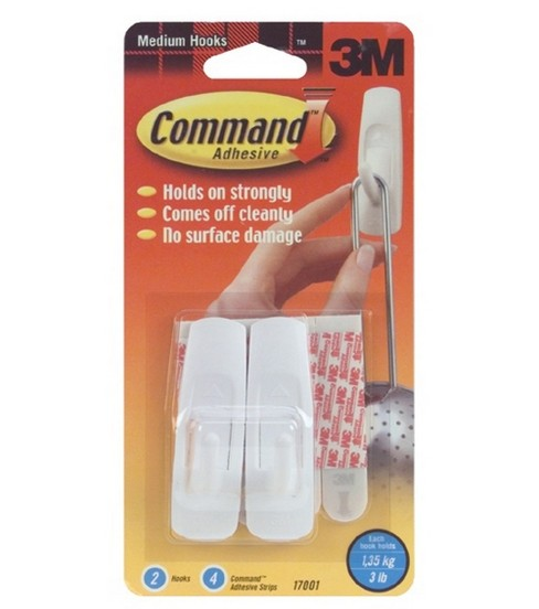 Medium Hooks 2/Pkg W/4 Command Adhesive Strips