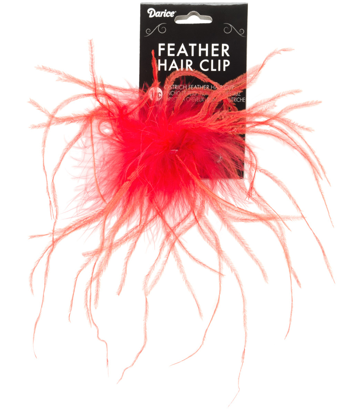 RED    -OST FEATHR HAIR CLIP