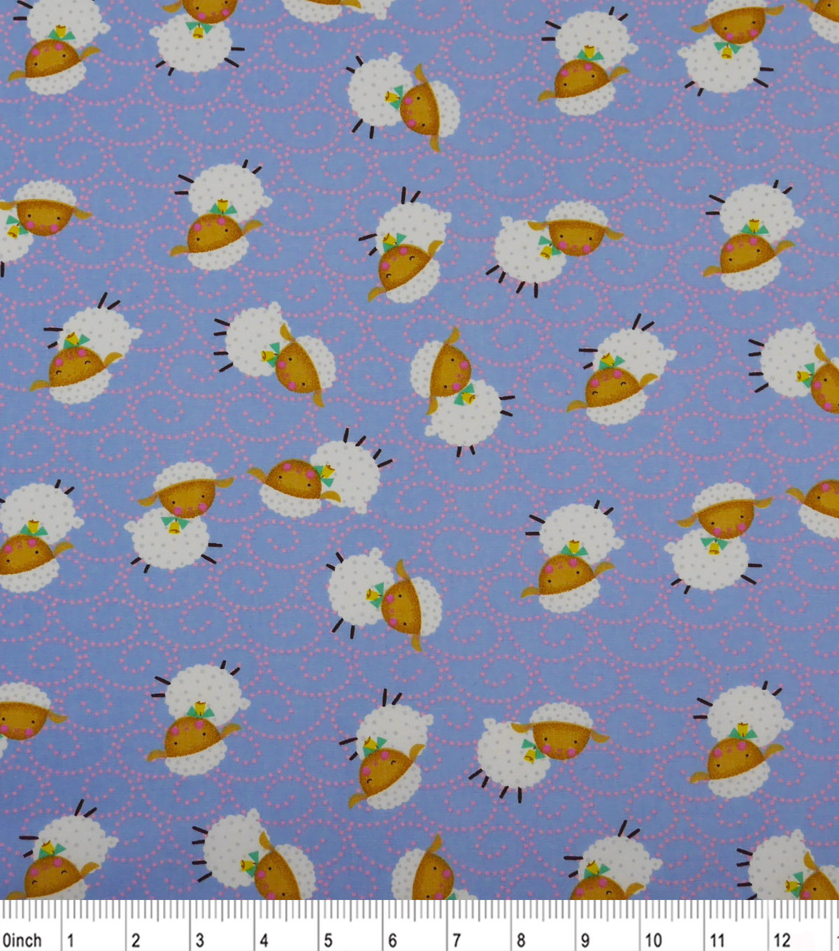 Nursery Cotton Fabric-Rhymes Blue Sheep