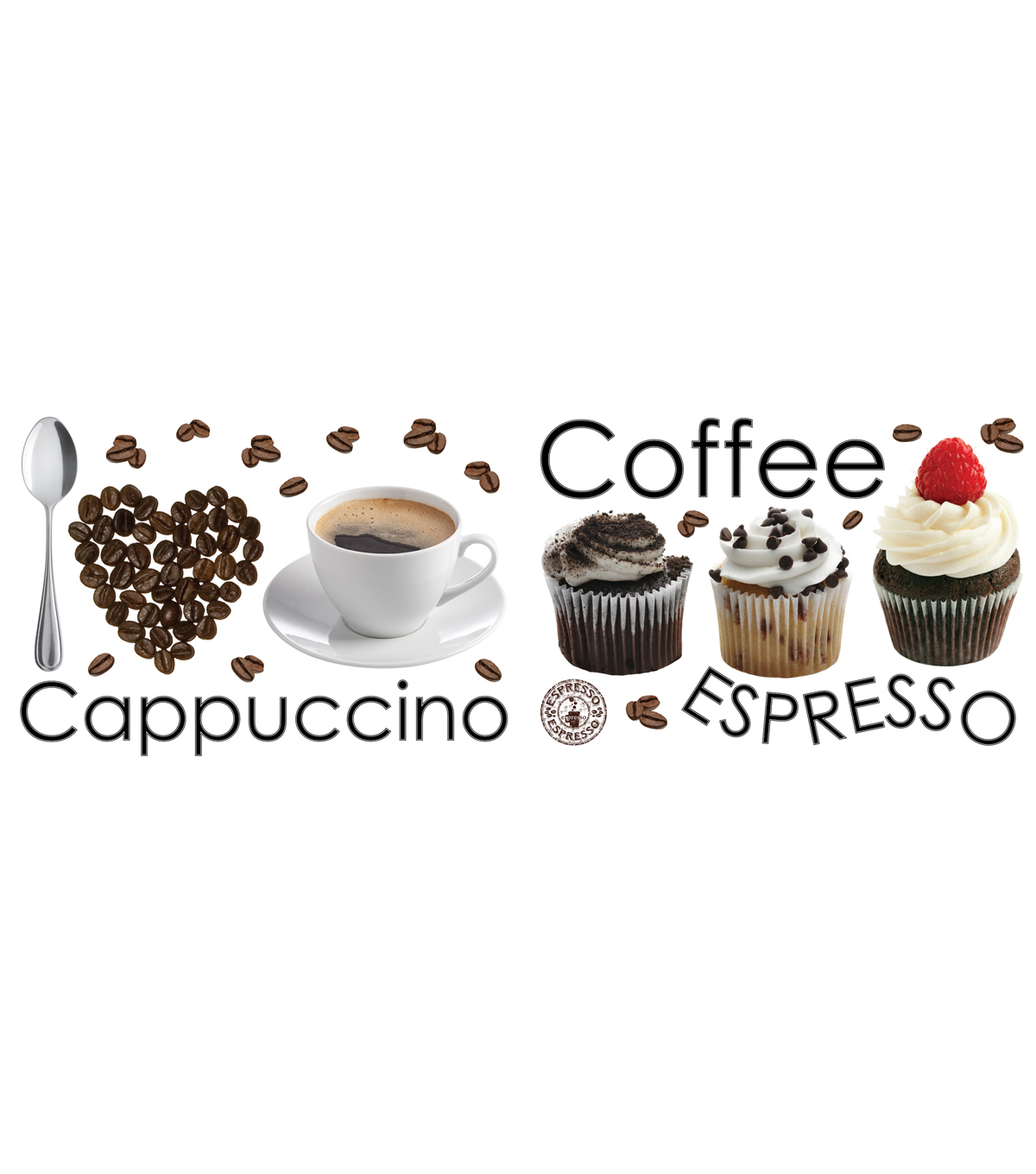 Home Decor Espresso Wall Decal, 24 Piece Set