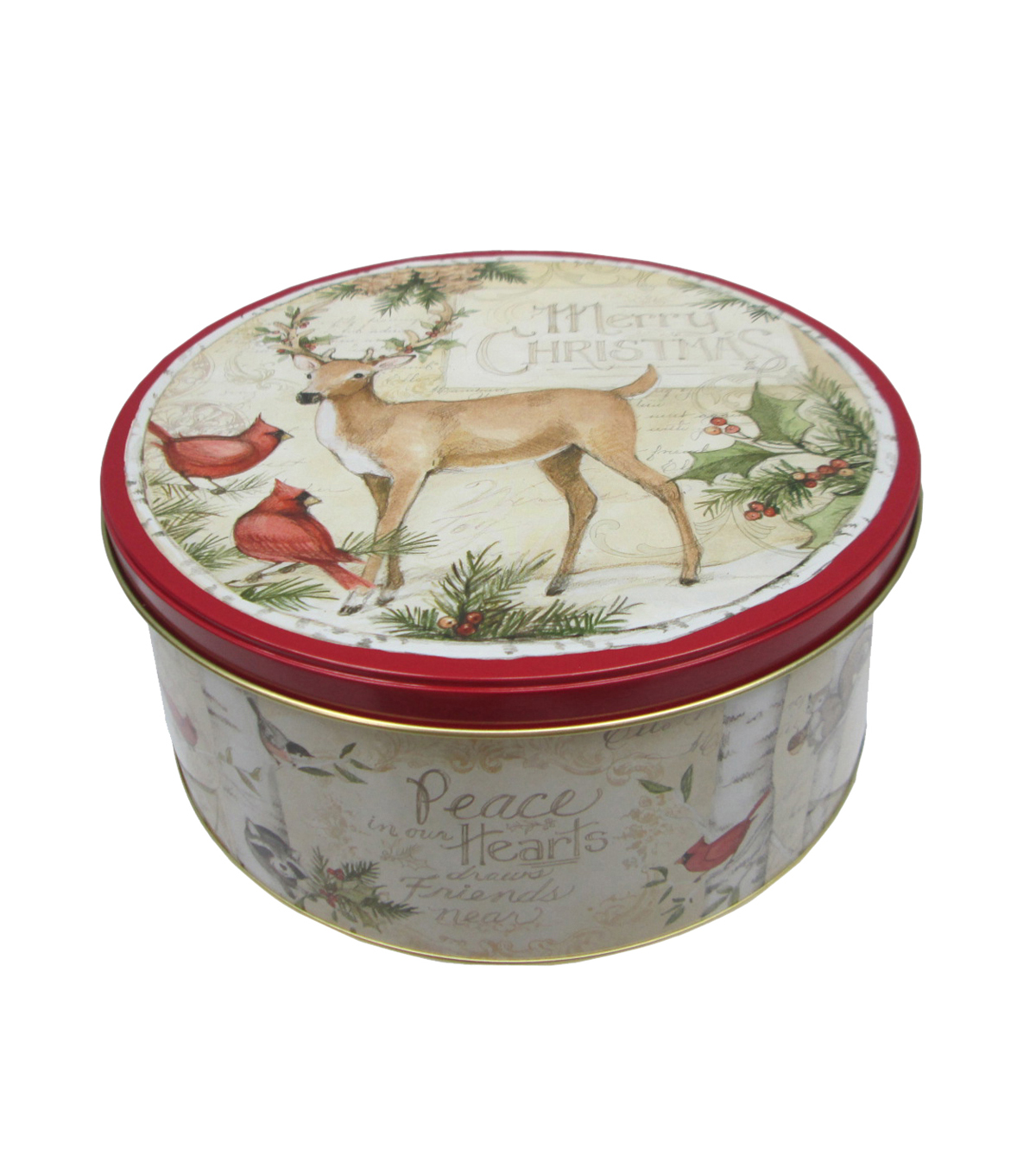 Maker\u0027s Holiday Large Round Cookie Tin-Deer