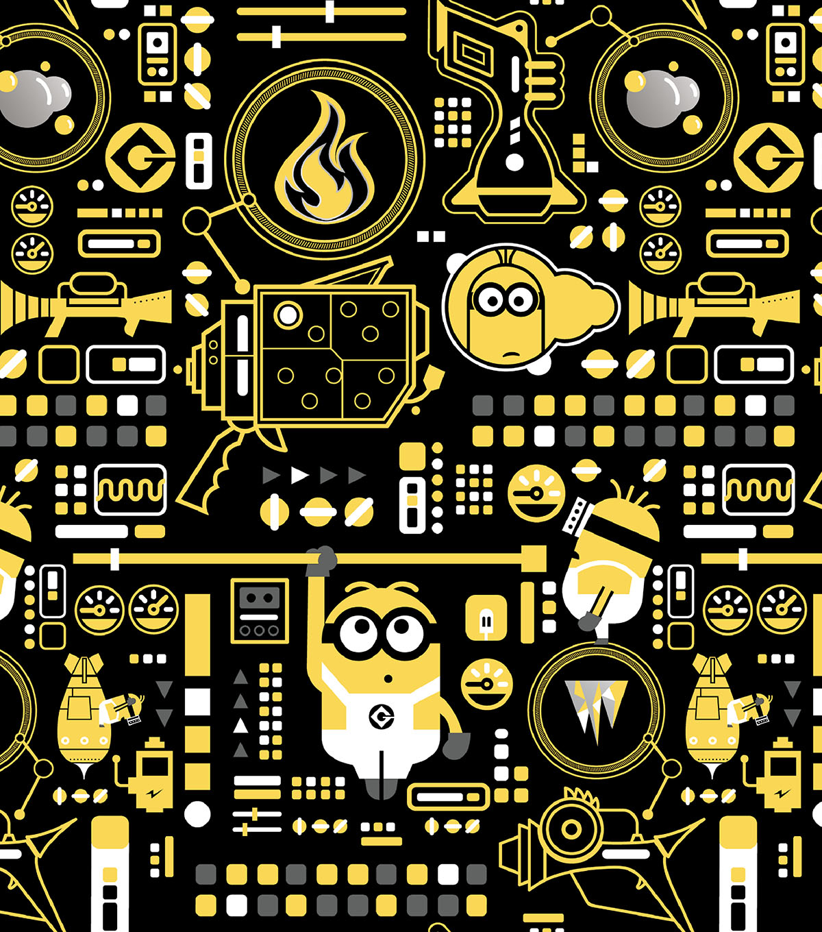 Minion Cotton Fabric 43''-Control