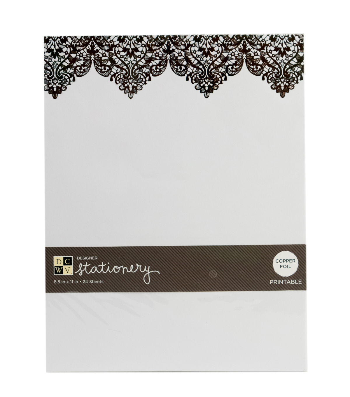 "DCWV 8-1/2""x11"" Designer Printable Stationery: Copper Lace"