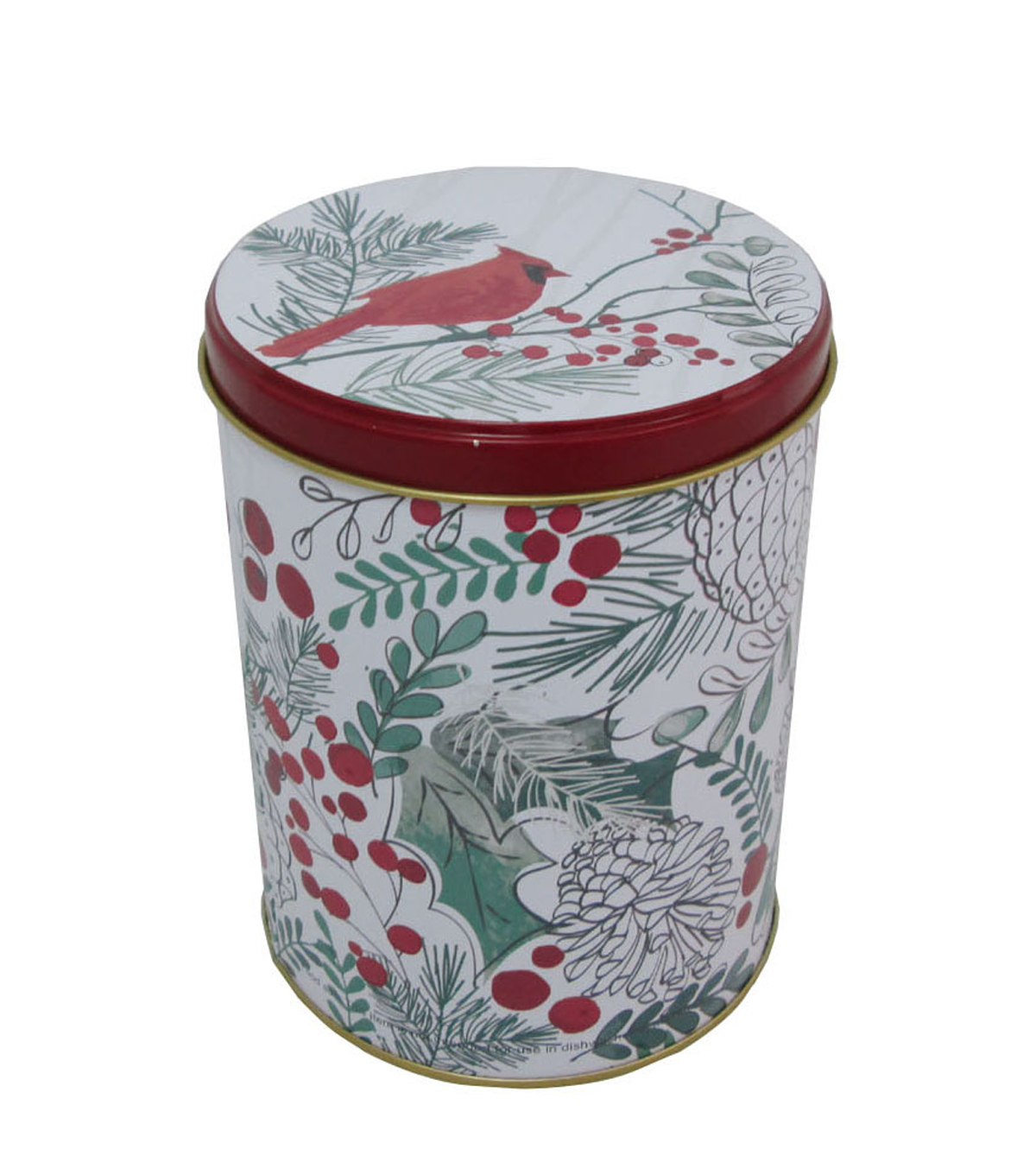 Maker\u0027s Holiday Christmas Large Round Solid Top Canister-Cardinal