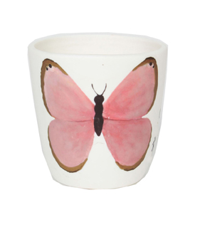 Wild Blooms Porcelain Candle Holder-Pink Butterfly