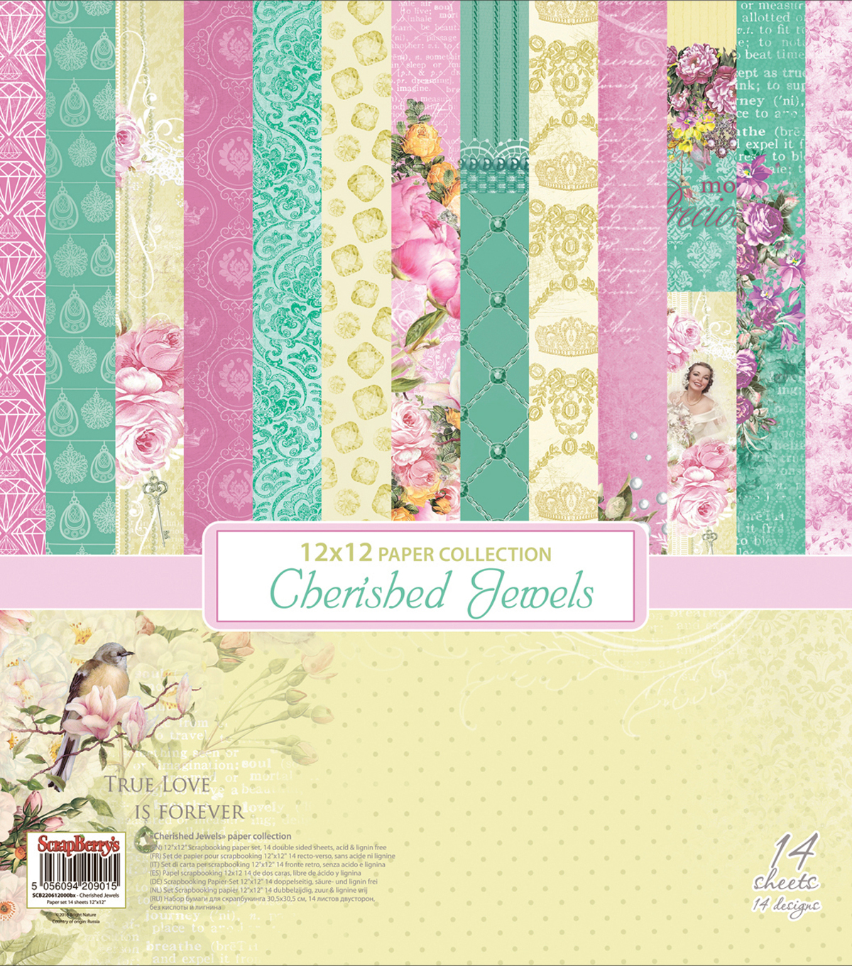 ScrapBerry\u0027s Cherished Jewels Paper Pack 12\u0022X12\u0022-7 Double-Sided