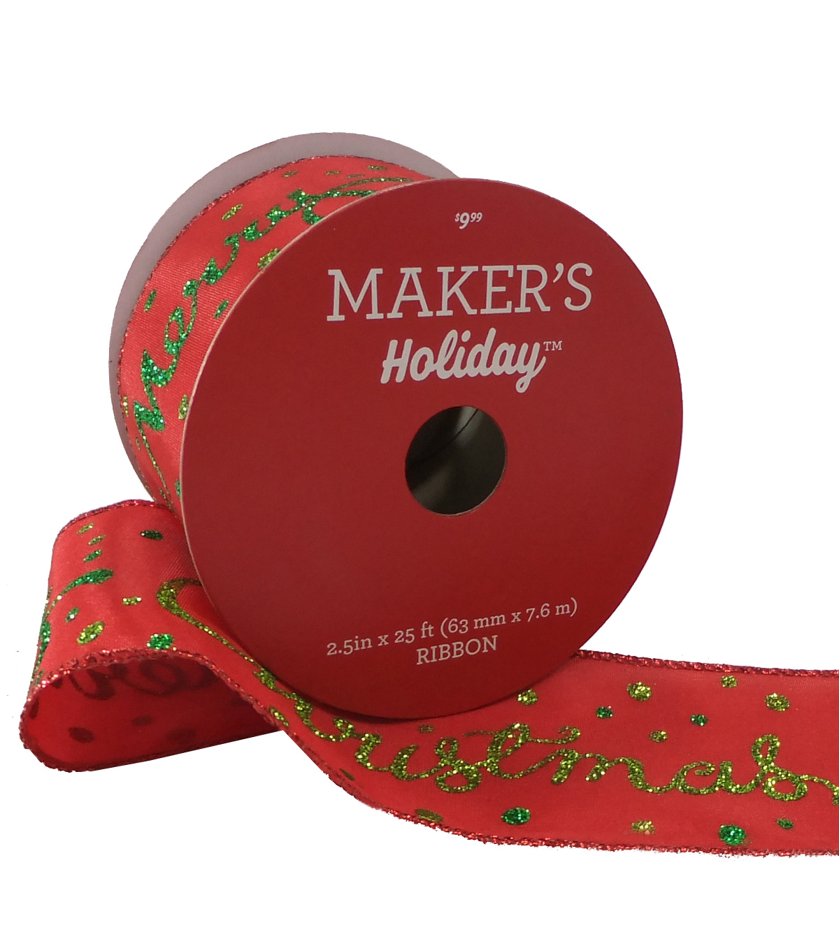 Maker's Holiday Christmas Ribbon 2.5''x25'-Green Merry Christmas on Red