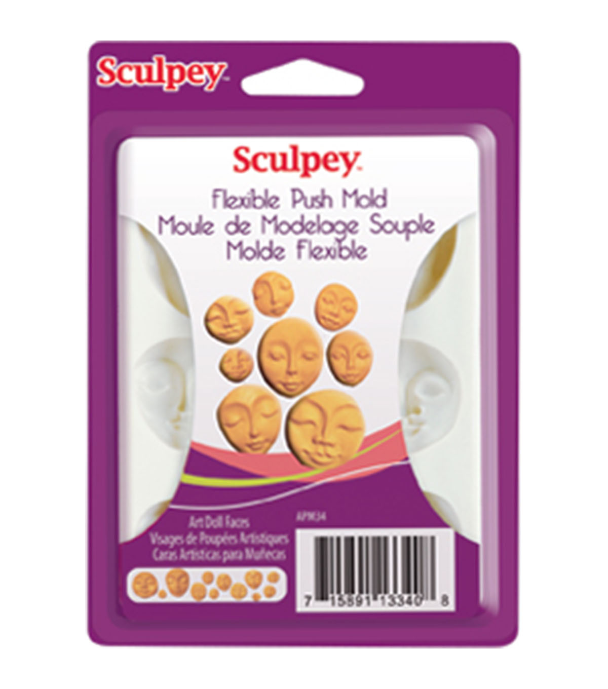 Sculpey Flexible Push Mold-White Art Doll Faces