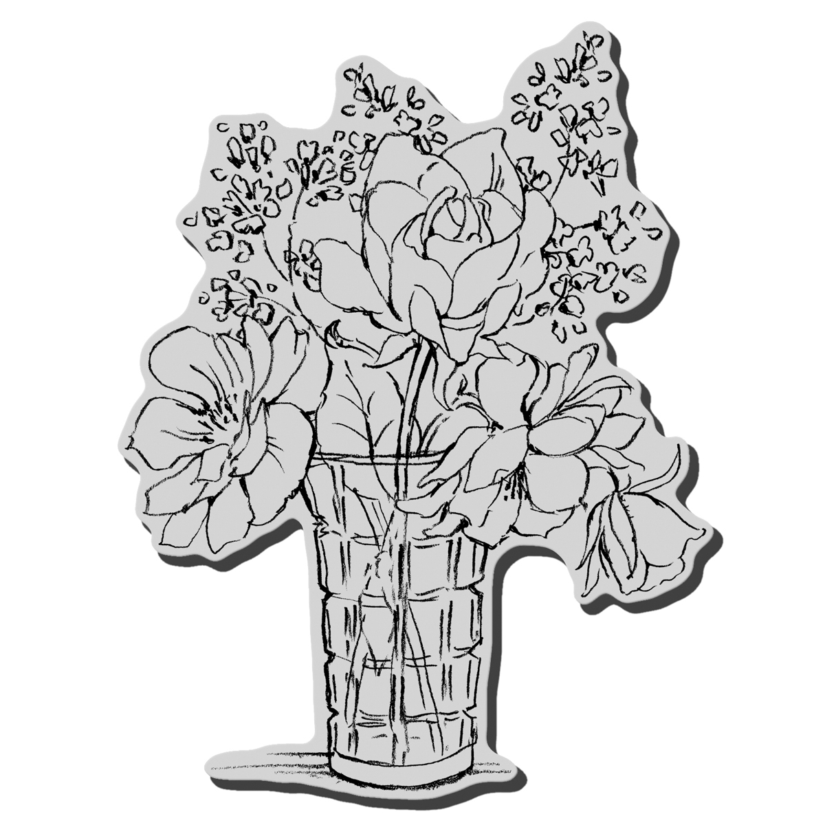 Stampendous Cling Rubber Stamp Vase Bouquet