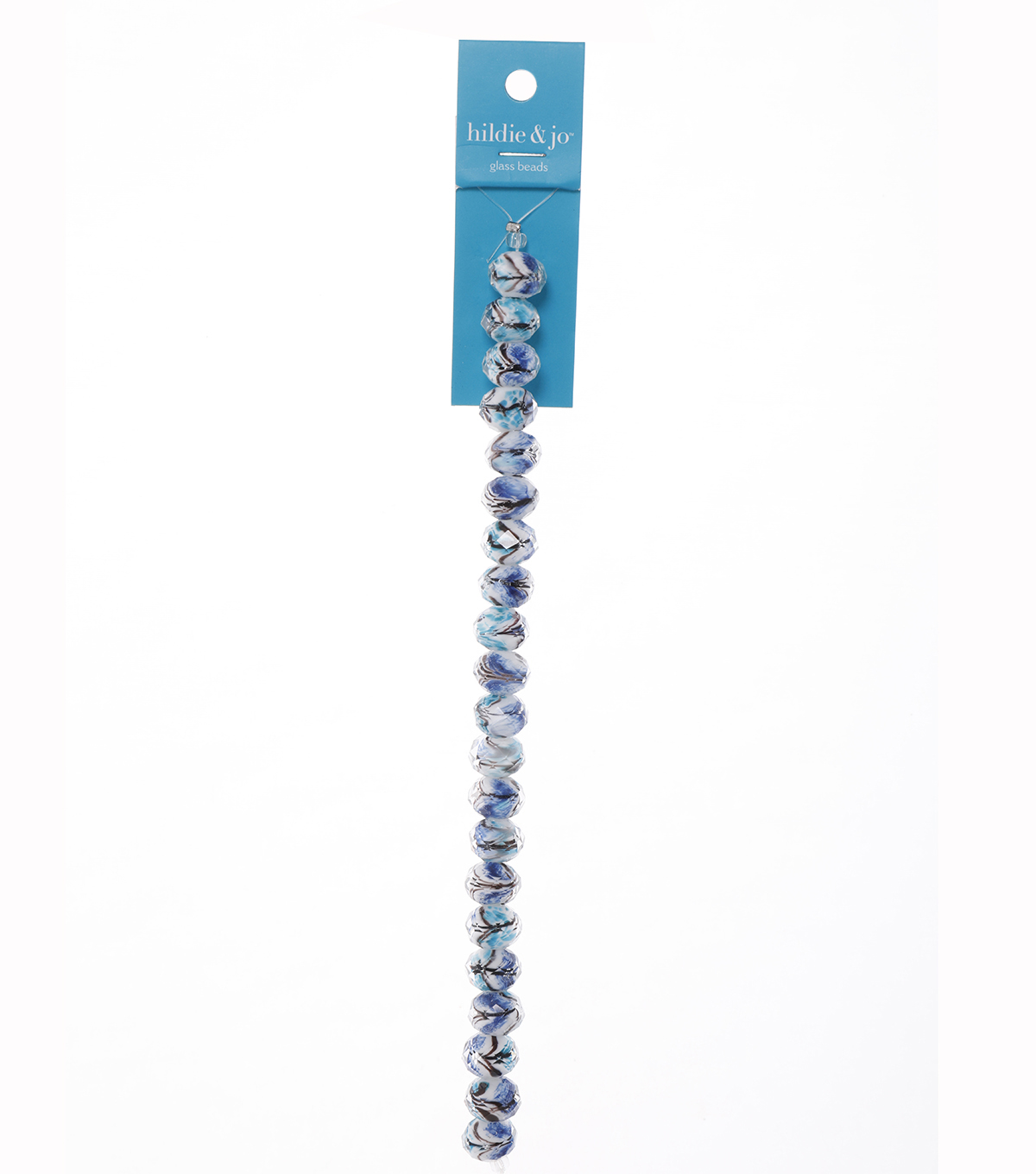 Blue Moon Beads 7\u0022 Strand Facetted Rondelle Blue with Multi-Design core